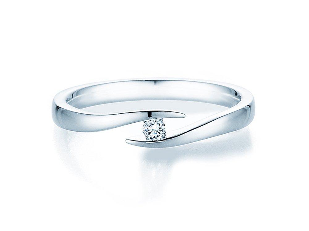 Verlobungsring Twist in Silber mit Diamant 005ct GSI