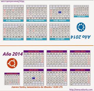 Calendario de mesa ubuntero