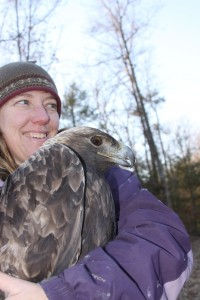 Trish Miller with a golden eagle