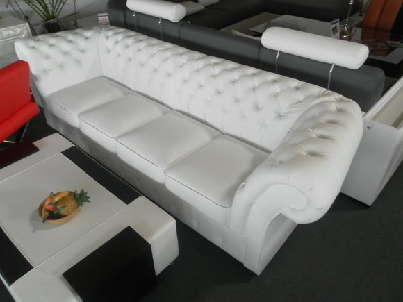 CHESTERFIELD 270cm Big Sofa Couch LEDER SOFA 5SITZER