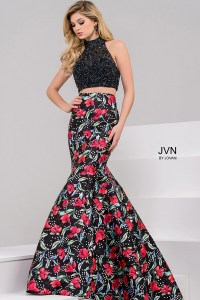 Black high neck embellished bodice and mermaid floral ...