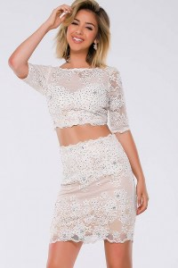 White three quarter sleeve two piece beaded lace cocktail ...