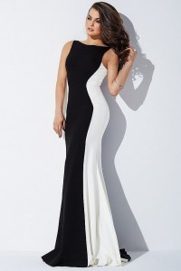 Open back black and white long prom dress with plunging back