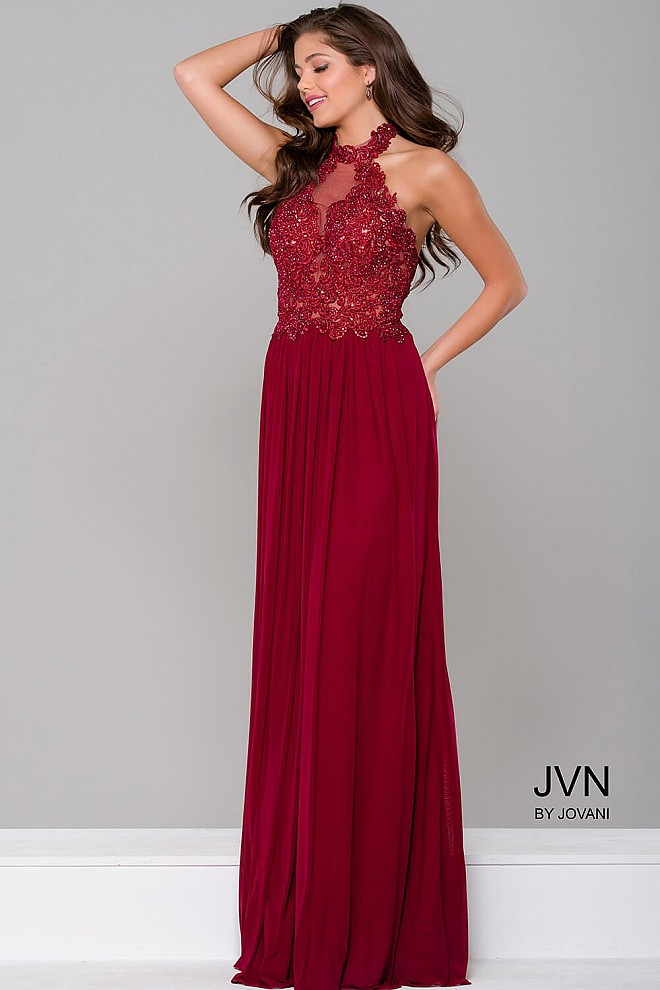 Burgundy halter neck lace applique long open back prom dress