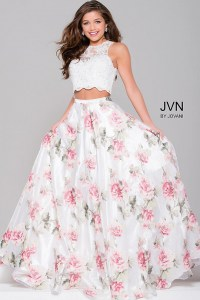 White multi two piece beaded lace prom ballgown with multi ...