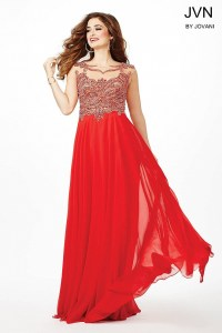 Red sheer neckline flowy chiffon prom dress with natural ...