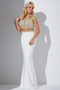 White embellished top two piece open back dress