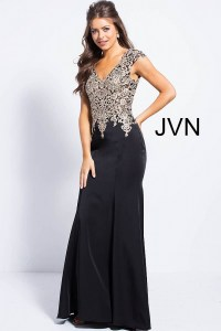 Black mermaid prom dress with gold embellished over sheer ...