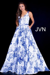 White blue print long A line plunging neck pleated dress ...
