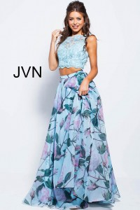 Blue long A line two piece lace sleeveless bodice prom dress.