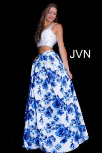 white and blue two piece long prom dress with plain top ...