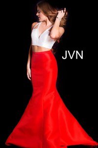 White and red long fitted v neck open back mermaid prom dress.
