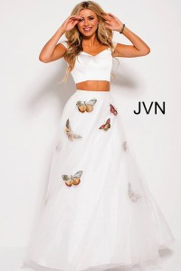 White multi long A line two piece tulle and satin prom dress.