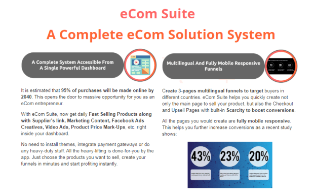 EcomSuite Software OTO Upsell by Seun Ogundele