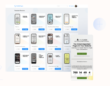 Mobile Pages Agency Features - Build From 5 Beautiful Mobile Templates