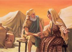 Sarah talking with Abraham