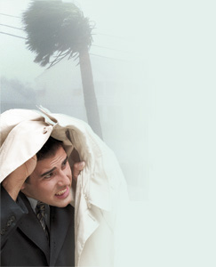 A man seeking protection from a storm