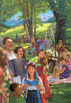 People from various ethnic backgrounds enjoying Paradise together