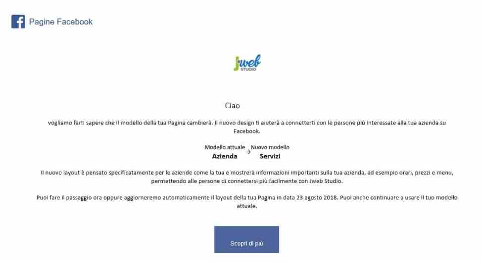 nuovo layout facebook pagine business
