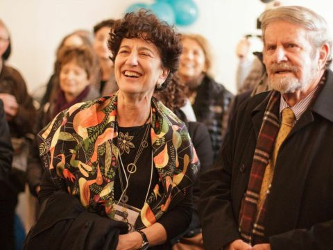 Shana Penn and Tad Taube at the Warsaw JCC in October led a delegation to the grand opening of the Museum of the History of Polish Jews in Warsaw