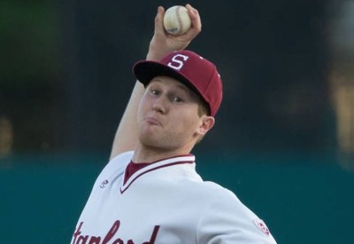 Cramer pitching in Stanford uniform