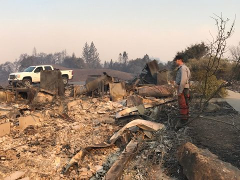 Jake Olsan surveys the scant remains of his family's home in rural Sonoma County. (Photo/Courtesy Jeremy Olsan)