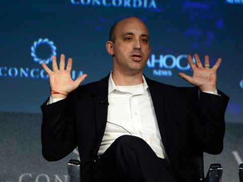Jonathan Greenblatt, head of the Anti-Defamation League, speaking at the Grand Hyatt hotel in New York City, Oct. 2, 2015. (Photo/JTA-Leigh Vogel-Getty Images for Concordia Summit)