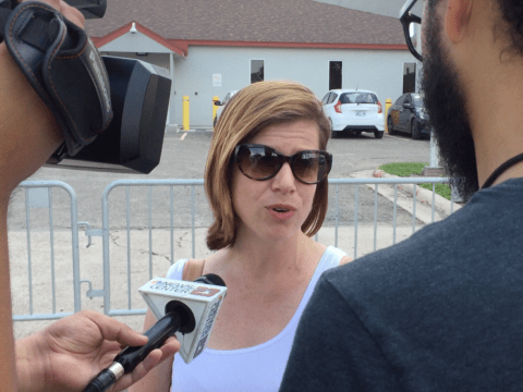 San Francisco Jewish Community Relations Council Executive Director Abby Porth speaks to press during a protest at a detention center in McAllen, Texas, June 24. (Photo/Sonia Daccarret)