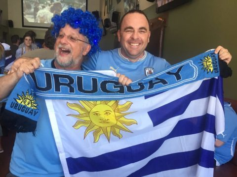 David Pilosof (left) and Ariel Goldstein cheer on the Uruguayan World Cup team (Photo/Laura Paull)