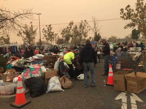 Collection center set up in a Wal-Mart parking lot in Chico. (Photo/Courtesy Chico Hillel-Kristy Collins)
