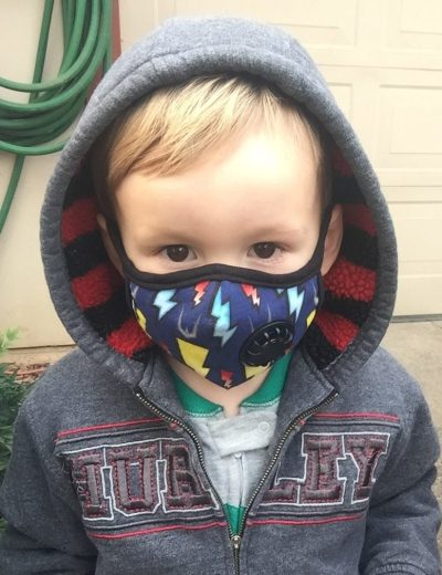 Chico Hillel director Kristy Collins' 2-year-old son wearing his mask