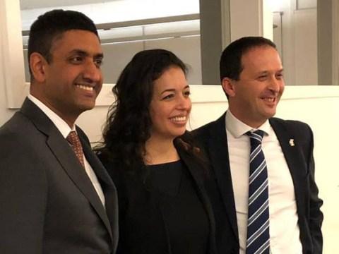 Left to right: Rep. Ro Khanna, entrepreneur Liat Portal and Israel Consul General Shlomi Kofman