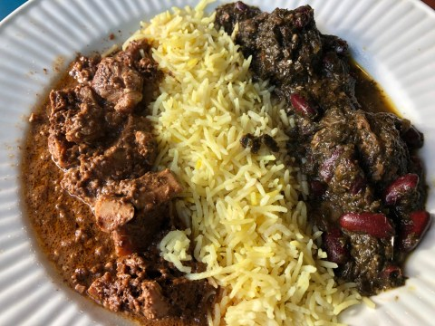 On the sampler plate is fesenjan and ghormeh sabzi, a dish of meatballs with kidney beans and fenugreek leaves.(Photo/Alix Wall)