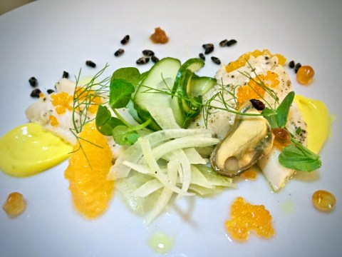a bright salad featuring greens, citrus, etc.