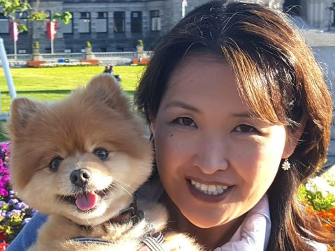 Ivy Chen with Biscuit the consent dog