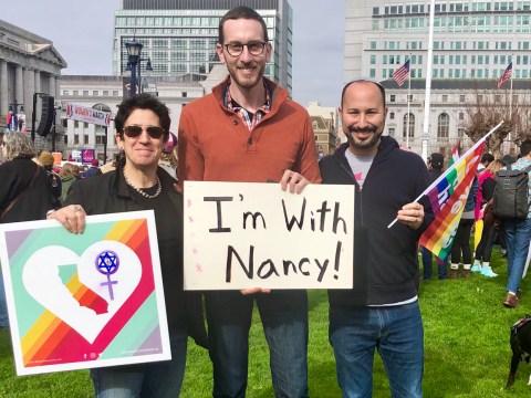 Rabbis Sydney Mintz (left) and Jason Rodich (right) with California State Senator Scott Wiener (Photo/Courtesy Sydney Mintz