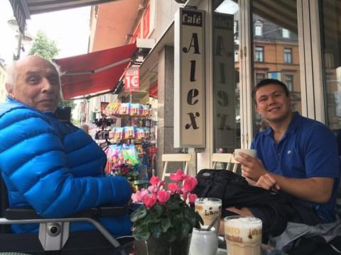 Markus Horovitz and grandson Daniel Horovitz in Frankfurt, Germany, August 2016