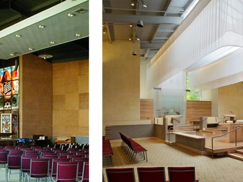 The sanctuary of B'nai Israel in Sacramento, before (left) and after (right) (Photo/HCLA)