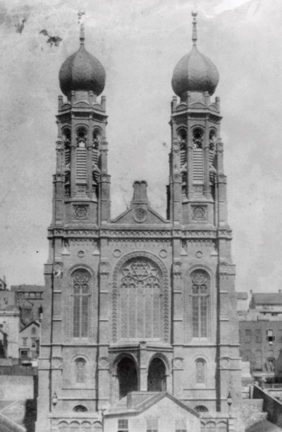 "The original building of San Francisco's Congregation Emanu-El was an example of what some have called the ""meshugothic"" style."