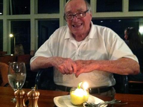Cantor Julius Blackman in April, 2017, celebrating his 101 1/2 birthday