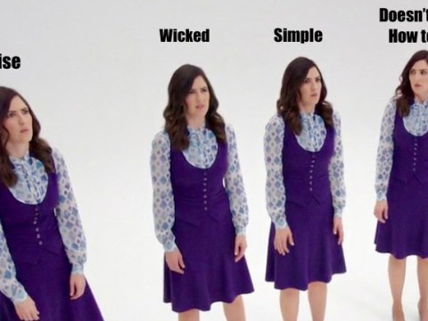"four identical copies of Janet, a character from ""The Good Place,"" stand in a row with blank expressions. Written above each one: wise, wicked, simple, doesn't know how to ask"