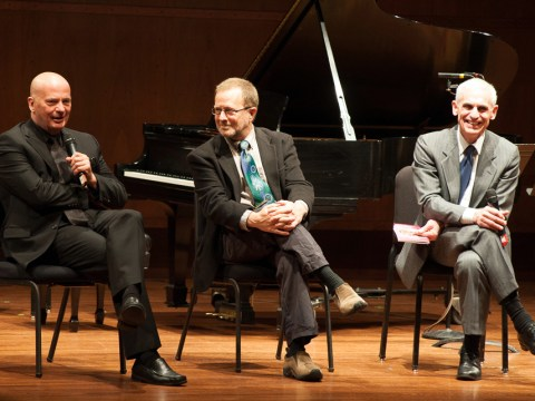 (From left) Composer Tom Cipullo, librettist David Mason and director Erich Parce (Photo/Michael Beaton)