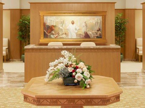The first painting seen upon entering the Oakland Temple of the Church of Jesus Christ of Latter-day Saints shows Jesus receiving offerings that were typically offered by Israelites at the Temples in Jerusalem. (Photo/Courtesy Church of Jesus Christ of Latter-day Saints)