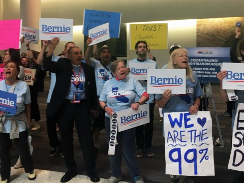 Supporters of Bernie Sanders and Elizabeth Warren at the California Democratic Party convention in at the Moscone Center in San Francisco, May 31-June 2, 2019. (Photo/Dan Pine)
