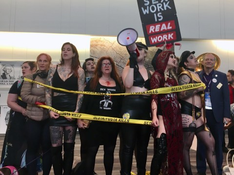 Sex workers demonstrate at the California Democratic Party convention at the Moscone Center in San Francisco, May 31-June 2, 2019. (Photo/Dan Pine)