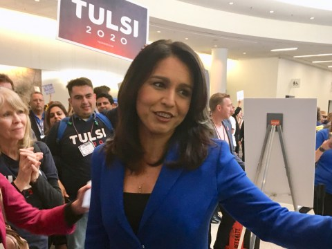 Tulsi Gabbard thronged by supporters at the California Democratic Party convention at the Moscone Center in San Francisco, May 31-June 2, 2019. (Photo/Dan Pine)