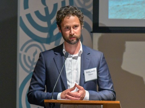 Rabbi Andy Kastner, interim executive director of the East Bay Federation, speaks at the 100th anniversary celebration of the federation, June 19, 2019. (Photo/Courtesy East Bay Federation)