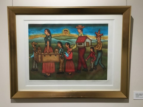 """Caminantes/Hikers"" by Felipe Morales, one of the artworks still on display in the La Frontera exhibition at the JCC of San Francisco (Photo/Gabe Stutman)"