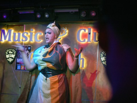 Mama De La Smallah performs at a 2019 Tel Aviv Pride event for her drag house, WERK, at the Desire Club in South Tel Aviv. (Photo/JTA-Laura E. Adkins)