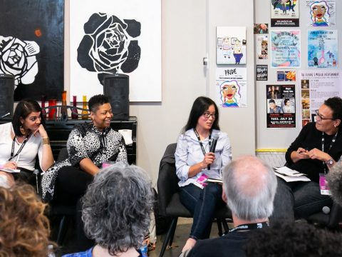 Leili Davari, Tonda Case, Rebekkah Scharf and Ilana Kaufman discuss intersectionality and Jewish women of color at a July 21, 2019 San Francisco Jewish Film Festival panel. (Photo/Barak Shrama-Courtesy San Francisco Jewish Film Festival)